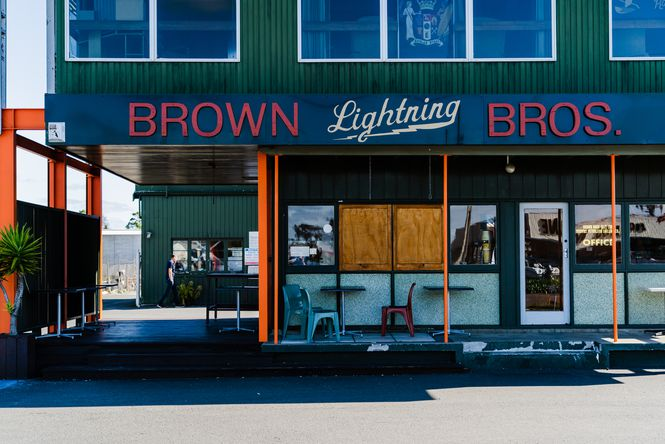 The exterior of Brown Lightning Bros.