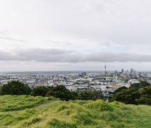 The view of Auckland central from Mt Eden.