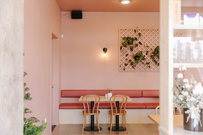 The pink interior at Lykke Cafe.