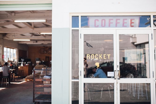 The entrance to Rocket Coffee.