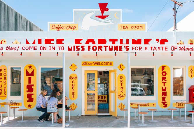 The entrance to Miss Fortune's.