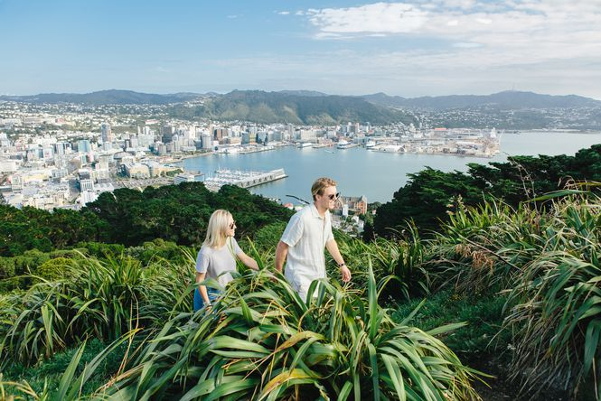 A couple walking up Mt Victoria.