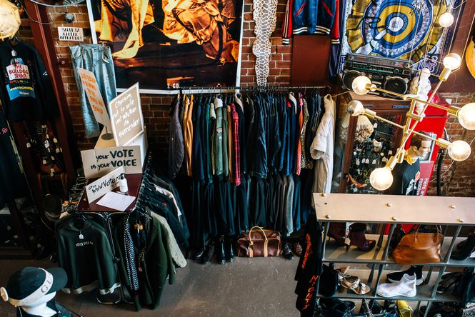 Leathers clothes on racks inside Hunters and Collectors.