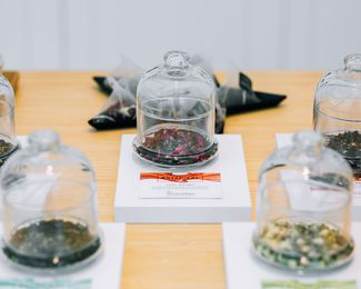 Dried teas on display.